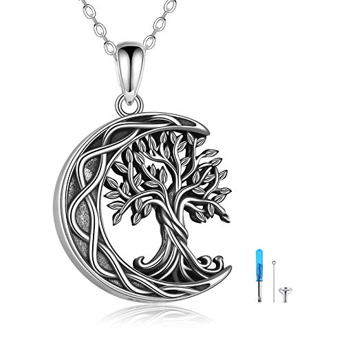 Tree of Life Urn Necklaces for Ashes Sterling Silver Celtic Knot Moon Tree of Life Cremation Jewelry for Ashes Memory Jewelry for Women Men