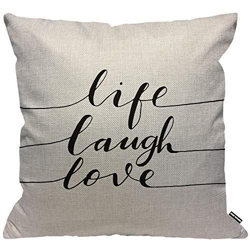 HGOD DESIGNS Kissenbezug Zitate Life Laugh Love Wort Inspiration Beschriftung Schwarz Weiß Kissenhülle Haus Dekorativ Männer/Frauen/Jungen/Mädchen Wohnzimmer Schlafzimmer Sofa Kissenbezüge 45X45cm