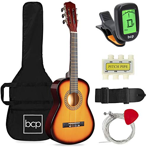 Best Choice Products 30in Kids Acoustic Guitar Beginner Starter Kit with Electric Tuner, Strap, Case, Strings, Capo- Sunburst