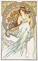 絵画風 壁紙ポスター (はがせるシール式) アルフォンス・ミュシャ 四芸術-音楽 1898年 アールヌーヴォー キャラクロ K-MCH-059S2 (383mm×603mm) 建築用壁紙+耐候性塗料