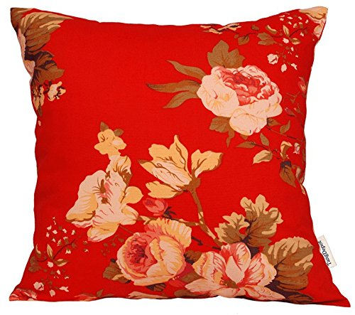 """TangDepot174; 100% Cotton Floral/Flower Printcloth Decorative Throw Pillow Covers/Handmade Pillow Shams - Many Colors, Sizes Avaliable - (12""""x12"""", S18 Tree Peony - Red)"""