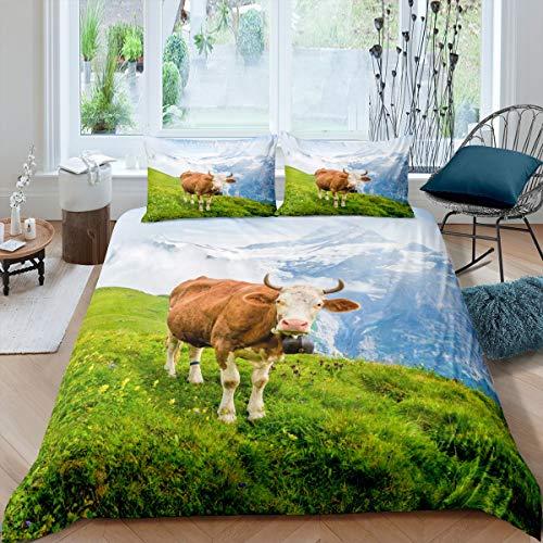 Juego de ropa de cama con 2 fundas de almohada de 200 x 200 cm, color verde, azul y marrón