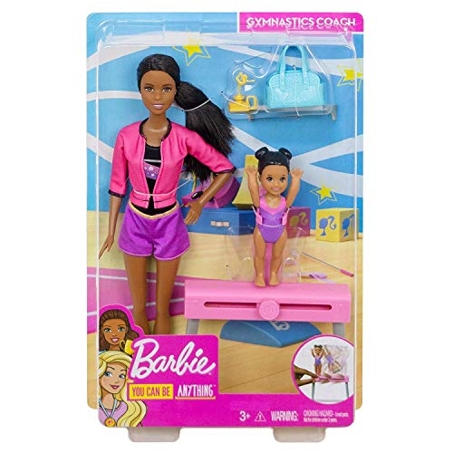 Barbie Gymnastics Dolls & Playset with Brunette Coach Barbie Doll Brunette Small Doll and Balance Beam with Sliding Mechanism