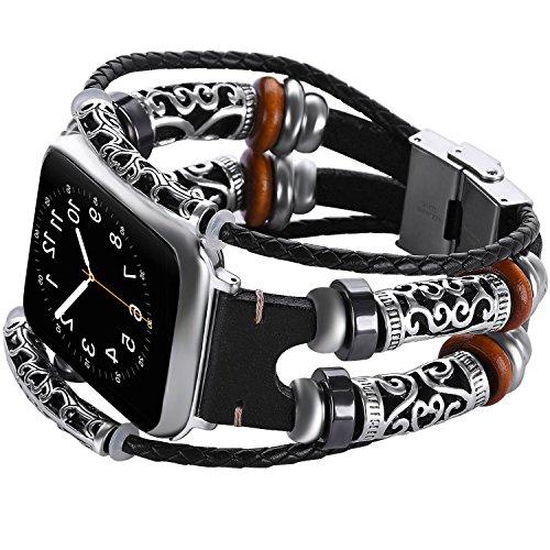 Cinturini per orologi Apple 42mm Braccialetto pelle per iWatch serie 3 2 1, Polsino orologio cinturino con fibbia in metallo per uomo e donna, Fascia di ricambio bracciale retrò