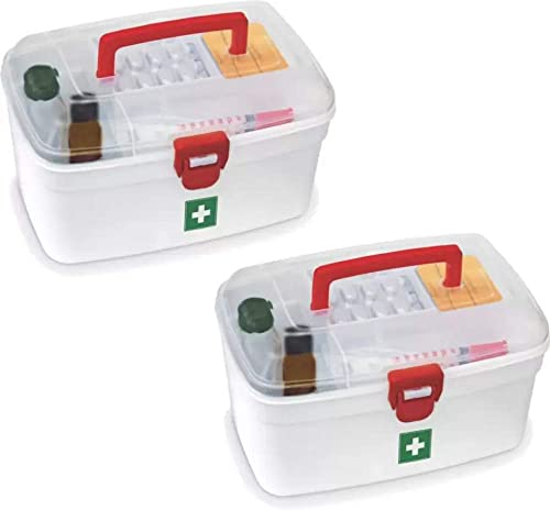 Milton Medical Box with Handle 2500 ml Plastic Utility Container Pack of 2 White