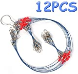 YOTO 12/24PCS Fishing Wire Trace Leader Rig Stainless Steel Fishing Rigs Tackle Lure Swivel Snaps Beads Connect Tackle Lures Rig or Hooks Fishing Wire. (12pcs Fishing Rigs 2Arm)