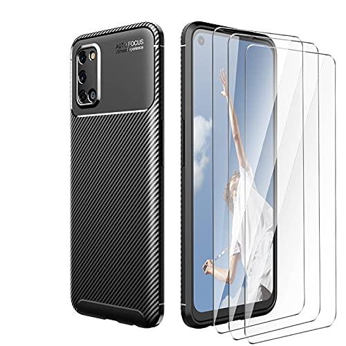 LYZX für Oppo Find X3 Lite 5G stoßfeste Schutzhülle+ 3-teiliger Bildschirmschutz aus gehärtetem Glas, ultradünne & langlebige TPU-Handyhülle, Kohlefaser-Schutzhülle, schwarz