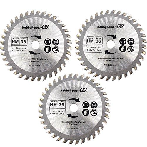 3 Stück Mini Handkreissäge HM Sägeblatt Holz [ Ø 85x10mm ] 36 Zähne für Apex/Timbertech/Powerplus/Germania