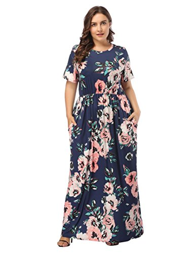 Sommerkleid Damen A-Linie Kleid Lang Strandkleid Maxikleid mit Blumen Abendkleid Partykleid, Farbe: Schwarzblau, Gr. 3XL(EU 52-54)