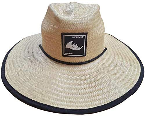 Chapéu Surf De Palha Natural Verão Praia Aba Larga, Chapelaria Vintage - Estampa Azul