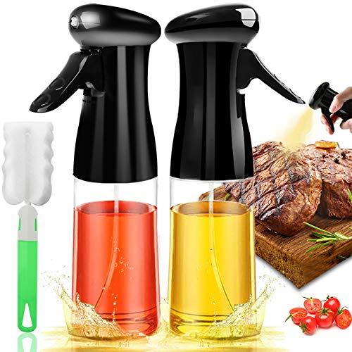 Oil Sprayer for Cooking 2PACK Set Refillable Olive Oils Dispenser Spray Versatile Vinegar Spritzer Bottles with Brush, Food Grade Plastic Bottle for Air Fryer Kitchen BBQ Salad Baking 7Oz/200ml, Black