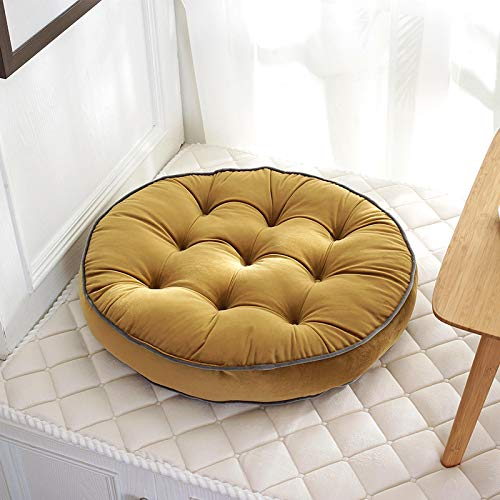 ZWRY Floor Cushions Velvet Round Futon Floor Mat Chair Seat Booster Pad Patio Garden Bench Lounger Couch Back Cushion Yellow