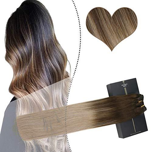 Ugeat Echte Haare Tressen fur Weaving 60 cm Sew in Extensions Weave on Human Hair Haarverlangerung Echthaar zum Einnahen 100GR (Dunkelstes Braun Balayage Aschblond Bala#2/18)