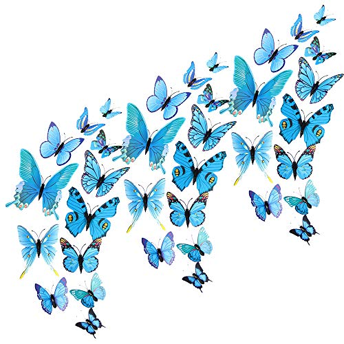BlueCosto 36pcs (Blue) 3D Butterfly Wall Stickers Butterflies Decals Decoration Removable Sticker for DIY Home Kids Bedroom Living Room Party