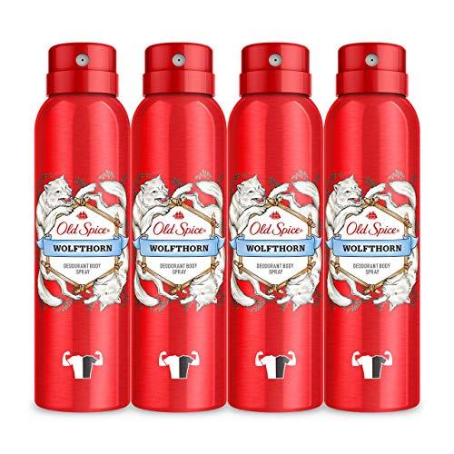 PACK X4 Old Spice Wolfthorn Spray Corporal Desodorante Para Hombres 150ml