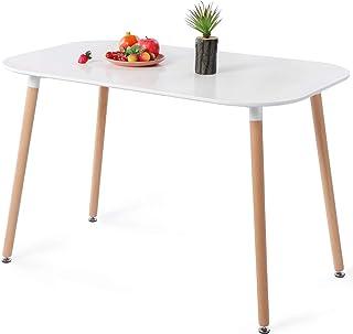 DORAFAIR Table de salle à manger ovale blanche table de cuisine pour 4 à 6 chaises Table basse Table à manger Table basse ...