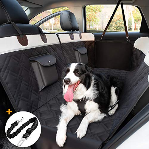 Toozey Hundedecke Auto Rückbank mit Seitenschutz für Auto/Kombis/Van/SUV, Teilbar wasserdichte Autoschondecke Hund Rücksitz mit Anschnallgurt, Kratzfest & rutschfest, 2 Taschen, 146x135 cm