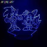 BTEVX Lámpara de ilusión 3D Juego de luz de noche Led Sonic The Hedgehog Decoración para niños Batería Regalo de cumpleaños para niños Lámpara de mesa Sonic
