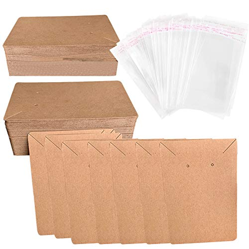 Lanzn 50 PCS Earring Packaging Card,Cardboard Earring Display Cards Brown Jewellery Display Cards Kraft Earring Cards and Bags Necklace Card Holder Earring Tags with 50 Self Adhesive Sealing Bags