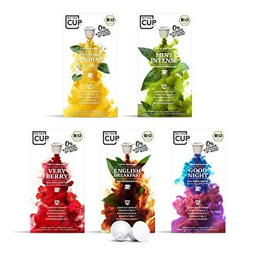 My Tea Cup – TEE-PAUSE BOX: 5 x 10 KAPSELN BIO-TEE I 5 SORTEN BIO-TEE I 50 Kapseln für Nespresso®³-Kapselmaschinen I 100% industriell kompostierbare & nachhaltige Teekapseln – 0% Alu