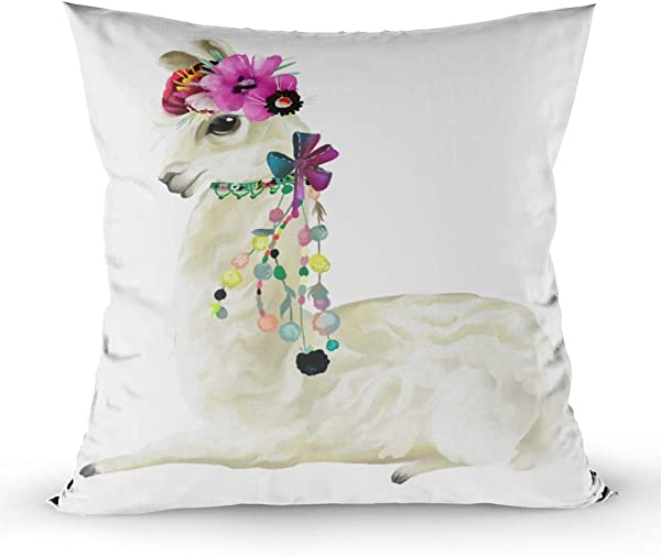 Shorping Decorative Pillow Covers Zippered Covers Pillowcases 16X16Inch Throw Pillow Covers Cute Painted Mexican Llama Alpaca With Flowers Wreath Floral Bouquet And Boho For Home Sofa Bedding