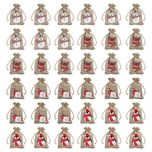 Bolsa Regalo Navidad con Cordel (36 Piezas) 15 x 10 cm Bolsitas de Tela Arpillera Pequeña con 4 Diseños Muñeco de Nieve, Papá Noel, Reno, Pingüino (9 de Cada Uno) - Bolsa Navidad Ecológica