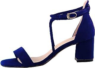 a9df11ea8e5682 wealsex Sandales Été Femme Bride Cheville Talon Haut Bloc Ouverte Daim  Escarpins Chaussures A Talons Fermeture