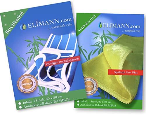 Elimann® natürlich rein, Bambus-Fenster-Tuch Set Jew. 1 St. Hochglanztuch + Spültuch FETT Plus bestens geeignet für Küchen/Glas/Spiegel/Scheiben/Brillen/Autos/Bad/Möbel/Geschirr