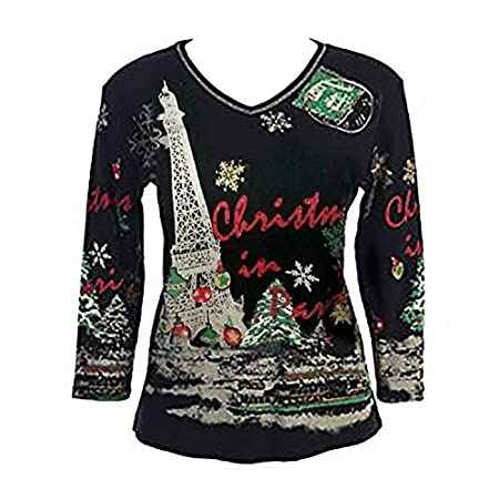 431efa8f3f Festive rhinestone-studded shirt is almost as fun as Christmas in Paris!  Not really