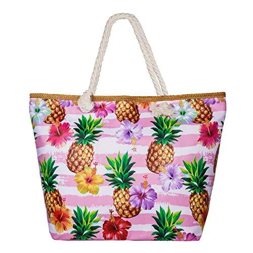 SenPuSi Große Strandtasche mit Reißverschluss Shopper Schultertasche Leinwand Sommer Schwimmbad Damen TascheVerschluss Badetasche Umhängetasche für Reise, Kaufen, Ausflug usw (Ananas)
