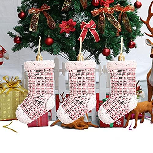 Atrusu, calze di Natale placcate in plastica per albero di Natale, calze da appendere in plastica, 3 pezzi, grandi calze per camino, decorazione festival, regalo di mela, sacchetti per caramelle