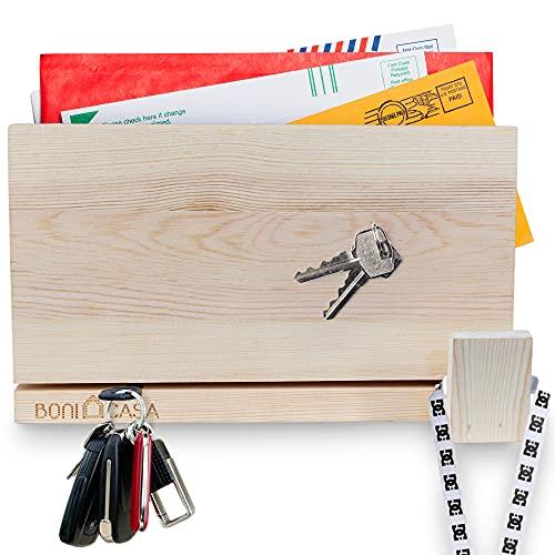 Boni Casa - Colgador magnético de madera [tecnología de roca magnética] Diseño moderno – Armario para llaves para decoración moderna   ver el listón de llaves