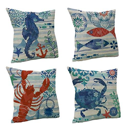 Nunubee cuscino di cotone stampato in lino Divano Vintage Federa per cuscino Home decorazione 45X45CM, 4 pezzi