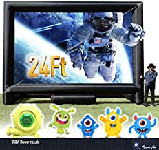 24FT Inflatable Mega Movie Screen Outdoor Use- Front and Rear Projection - Portable Blow Up Projector Screen for Grand Parties, Easy to Set Up (with Blower in One Box)