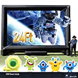 24FT Inflatable Mega Movie Screen Outdoor - Front and Rear Projection - Portable Blow Up Projector Screen for Grand Parties, Easy to Set Up (with Blower in One Box)