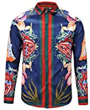 PIZOFF Mens Long Sleeve Luxury Snake Navy Print Dress Shirt Y1792-28-M