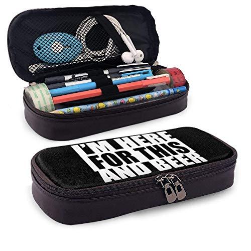 Ich bin hier für Titten und Bier Leder Bleistift Tasche Pen Case Bleistift Tasche mit Reißverschluss Jungen Mädchen für Schule & Büro