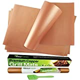 Premium Large Copper Grill and Bake Mats Set of 4 with Oil Brush -...