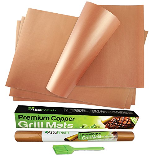 Premium Large Copper Grill and Bake Mats Set of 4 with Oil Brush - 15.75 X 13 inches - Non Stick BBQ Grill Mats for Grilling & Baking on Gas, Charcoal, and BBQ Grills - Easy to Clean and Reusable