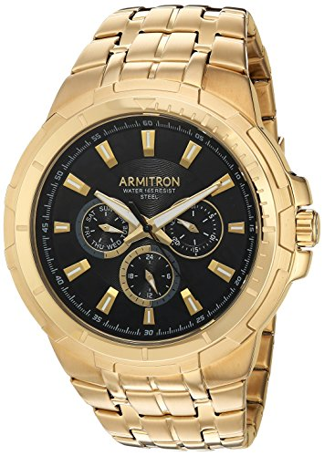 Relógio masculino Armitron 20/5144BKGP multifuncional com mostrador dourado