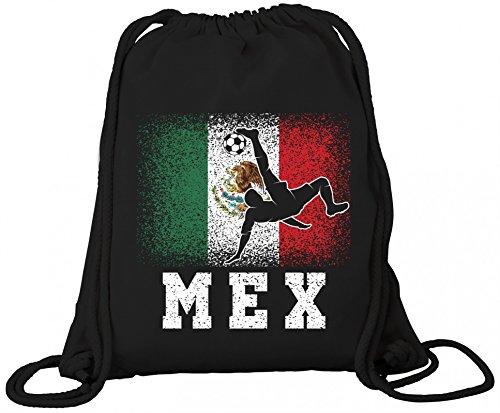 ShirtStreet Mexiko Fußball WM Fanfest Gruppen Fan Premium Bio Baumwoll Turnbeutel Rucksack Stanley Stella Mexico Football Player, Größe: onesize,Black