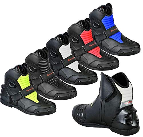 Full Black UK 10 Pro First Genuine Leather Motorbike Armoured Boots Motorcycle Short Ankle Protection Boot Shoes Anti Slip Racing Sports EU 44
