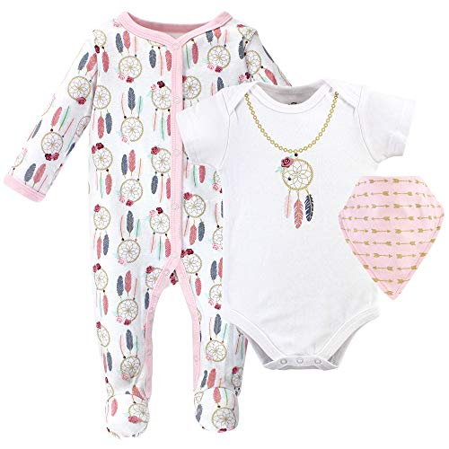 Little Treasure Unisex Baby Sleep and Play, Bodysuit and Bib, Dream Catcher , 0-3 Months