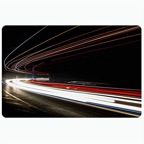 Tapis de bain Street Truck Trails Tunnel Vitesse abstraite Transport Architecture architecturale Beltway Bend Décoratif en peluche Tapis de salle de bain Tapis Décor Paillasson Support antidérapant