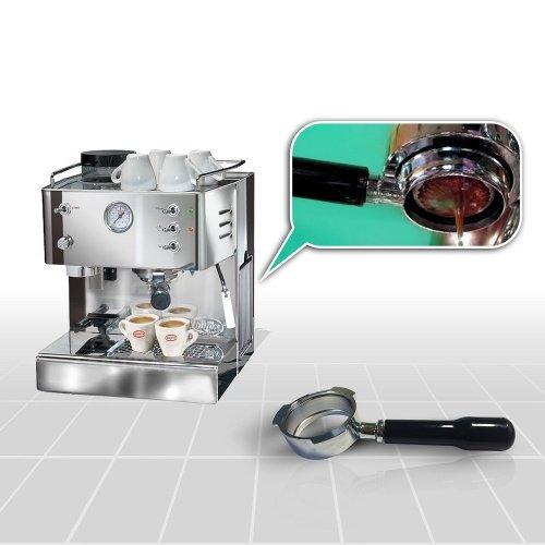 Espressomaschine QuickMill Model 03035L Pegaso Kaffeemaschine mit Kaffemühle, Special mit Bodenloser Siebträger