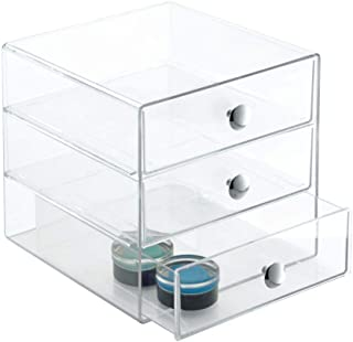 iDesign 3-Drawer Plastic Vanity Organizer, Compact Storage Organization Set for Dental Supplies, Hair Care, Bathroom, Office, Dorm, Desk, Countertop, Office, 6.5