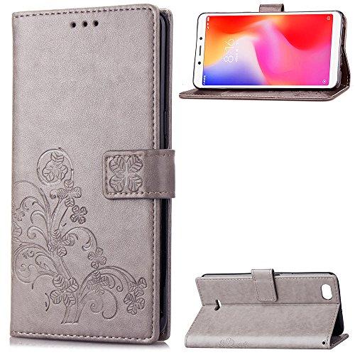 LAGUI Hülle Geeignet für Xiaomi Redmi 6A, Schönes Muster Brieftasche Lederhülle mit Kartenfächern Fach & Magnetische Verschluss, Anti-Scratch, stoßfeste Handyhülle. Grau