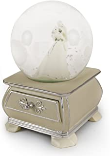 MusicBoxAttic Incredible Wedding Couple Snow Dome with French Country Style Commode Base - Lara's Theme (Dr.Zhivago)