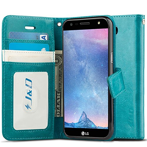 J&D Case Compatible for LG X Charge/LG X Power 2/LG Fiesta 2/LG Fiesta/LG V7 Case, Wallet Stand Slim Fit Heavy Duty Protective Shock Resistant Flip Cover Wallet Case for LG X Charge Wallet Case