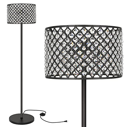 Hykolity Elegant Crystal Floor Lamp, Bedroom Standing Lights, 65Inch Tall Pole Accent Lighting for Mid Century, Modern & Contemporary Style, Suitable for Bedroom, Living Room, Office, Black Finish